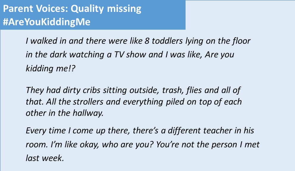 Parent Voices: Quality missing Are You Kidding Me
